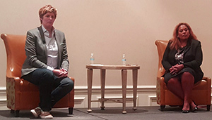 CNN Commentators Sally Kohn (left) and Tara Setmayer appeared at AHP to lead a spirited discussion about access to affordable healthcare in the United States.